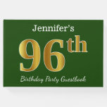 [ Thumbnail: Green, Faux Gold 96th Birthday Party + Custom Name Guest Book ]