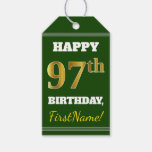 [ Thumbnail: Green, Faux Gold 97th Birthday + Custom Name Gift Tags ]