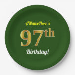 [ Thumbnail: Green, Faux Gold 97th Birthday + Custom Name Paper Plate ]