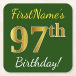 [ Thumbnail: Green, Faux Gold 97th Birthday + Custom Name Paper Coaster ]