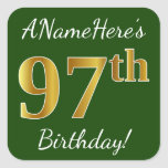 [ Thumbnail: Green, Faux Gold 97th Birthday + Custom Name Sticker ]