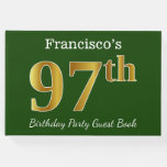 [ Thumbnail: Green, Faux Gold 97th Birthday Party + Custom Name Guest Book ]