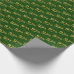 [ Thumbnail: Green, Faux Gold 97th (Ninety-Seventh) Event Wrapping Paper ]