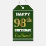 [ Thumbnail: Green, Faux Gold 98th Birthday + Custom Name Gift Tags ]