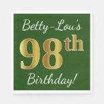 [ Thumbnail: Green, Faux Gold 98th Birthday + Custom Name Paper Napkin ]