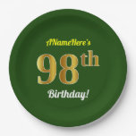 [ Thumbnail: Green, Faux Gold 98th Birthday + Custom Name Paper Plate ]