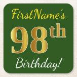 [ Thumbnail: Green, Faux Gold 98th Birthday + Custom Name Paper Coaster ]
