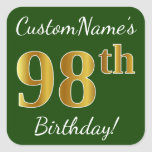 [ Thumbnail: Green, Faux Gold 98th Birthday + Custom Name Sticker ]
