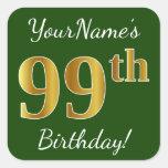 [ Thumbnail: Green, Faux Gold 99th Birthday + Custom Name Sticker ]
