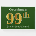 [ Thumbnail: Green, Faux Gold 99th Birthday Party + Custom Name Guest Book ]