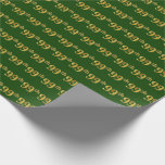 [ Thumbnail: Green, Faux Gold 99th (Ninety-Ninth) Event Wrapping Paper ]