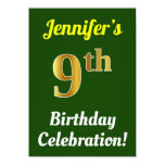 [ Thumbnail: Green, Faux Gold 9th Birthday Celebration + Name Invitation ]