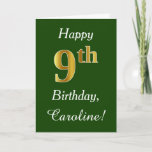[ Thumbnail: Green, Faux Gold 9th Birthday + Custom Name Card ]
