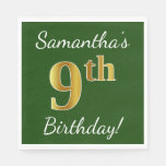 [ Thumbnail: Green, Faux Gold 9th Birthday + Custom Name Paper Napkin ]