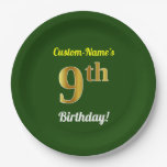 [ Thumbnail: Green, Faux Gold 9th Birthday + Custom Name Paper Plate ]