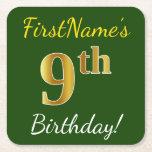 [ Thumbnail: Green, Faux Gold 9th Birthday + Custom Name Paper Coaster ]