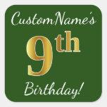 [ Thumbnail: Green, Faux Gold 9th Birthday + Custom Name Sticker ]
