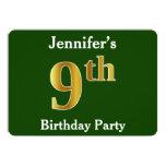 [ Thumbnail: Green, Faux Gold 9th Birthday Party + Custom Name Invitation ]