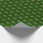 Hand shaped Green, Faux Gold 9th (Ninth) Event   Custom Names Wrapping Paper