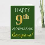 [ Thumbnail: Green, Faux Gold 9th Wedding Anniversary + Name Ca Card ]