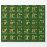 """[ Thumbnail: Green, Faux Gold """"Happy 10th Birthday"""" Wrapping Paper ]"""