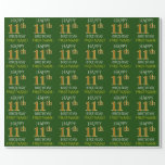 """[ Thumbnail: Green, Faux Gold """"Happy 11th Birthday"""" Wrapping Paper ]"""