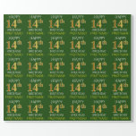 """[ Thumbnail: Green, Faux Gold """"Happy 14th Birthday"""" Wrapping Paper ]"""