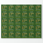 """[ Thumbnail: Green, Faux Gold """"Happy 17th Birthday"""" Wrapping Paper ]"""
