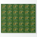 """[ Thumbnail: Green, Faux Gold """"Happy 18th Birthday"""" Wrapping Paper ]"""