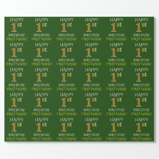 "Green, Faux Gold ""HAPPY 1st BIRTHDAY"" Wrapping Paper"