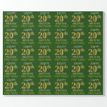 "[ Thumbnail: Green, Faux Gold ""Happy 20th Birthday"" Wrapping Paper ]"