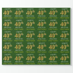 "[ Thumbnail: Green, Faux Gold ""Happy 40th Birthday"" Wrapping Paper ]"