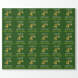 """[ Thumbnail: Green, Faux Gold """"Happy 4th Birthday"""" Wrapping Paper ]"""