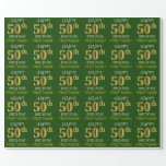 "[ Thumbnail: Green, Faux Gold ""Happy 50th Birthday"" Wrapping Paper ]"