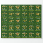 "[ Thumbnail: Green, Faux Gold ""Happy 70th Birthday"" Wrapping Paper ]"