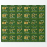 "[ Thumbnail: Green, Faux Gold ""Happy 80th Birthday"" Wrapping Paper ]"
