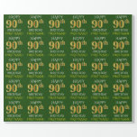 "[ Thumbnail: Green, Faux Gold ""Happy 90th Birthday"" Wrapping Paper ]"