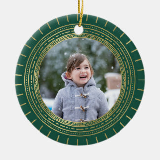 Green & Faux Gold Medallion Holiday Photo Double-Sided Ceramic Round Christmas Ornament