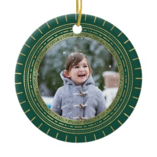 Green & Faux Gold Medallion Holiday Photo