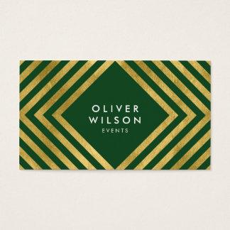 Green Faux Gold Social Media Elegant Geometric Business Card