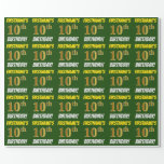 """[ Thumbnail: Green, Faux/Imitation Gold, """"10th Birthday"""" Wrapping Paper ]"""