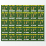 """[ Thumbnail: Green, Faux/Imitation Gold, """"11th Birthday"""" Wrapping Paper ]"""