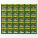 """[ Thumbnail: Green, Faux/Imitation Gold, """"12th Birthday"""" Wrapping Paper ]"""