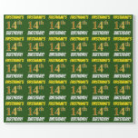 """[ Thumbnail: Green, Faux/Imitation Gold, """"14th Birthday"""" Wrapping Paper ]"""