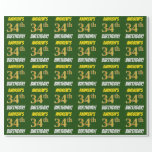 """[ Thumbnail: Green, Faux/Imitation Gold, """"34th Birthday"""" Wrapping Paper ]"""