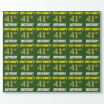 """[ Thumbnail: Green, Faux/Imitation Gold, """"41st Birthday"""" Wrapping Paper ]"""