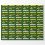 """[ Thumbnail: Green, Faux/Imitation Gold, """"42nd Birthday"""" Wrapping Paper ]"""