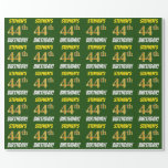 """[ Thumbnail: Green, Faux/Imitation Gold, """"44th Birthday"""" Wrapping Paper ]"""
