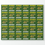 """[ Thumbnail: Green, Faux/Imitation Gold, """"46th Birthday"""" Wrapping Paper ]"""