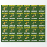 """[ Thumbnail: Green, Faux/Imitation Gold, """"4th Birthday"""" Wrapping Paper ]"""